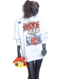 【Vintage】【SANTEE/MADE IN USA】【(C)1995NFL/Warner Bros】 BROWNS&TAZトレーナー/ライトグレー/XL