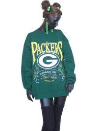 【Vintage】【Lee/NUTMEG MADE IN USA】(C)1995PACKERSプリントレーナー/ダークグリーン/XL